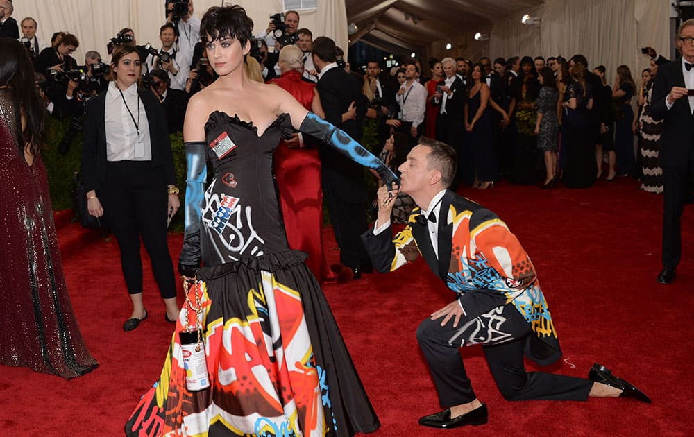 Katy Perry and Jeremy Scott arrives at The Metropolitan Museum of Art's Costume Institute benefit gala celebrating