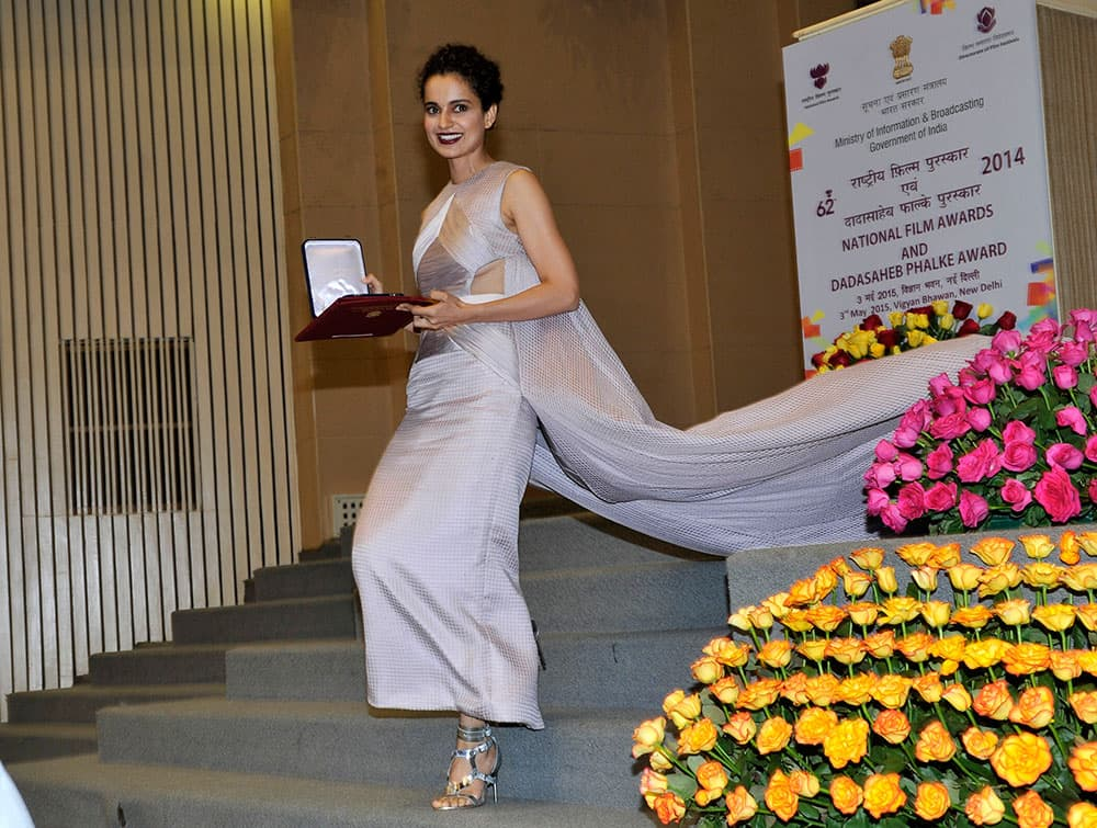 Kangana Ranaut after receiving the Best Actress Award from President Pranab Mukherjee for her role in Bollywood film Queen at the 62nd National Film Award ceremony in New Delhi. -dna