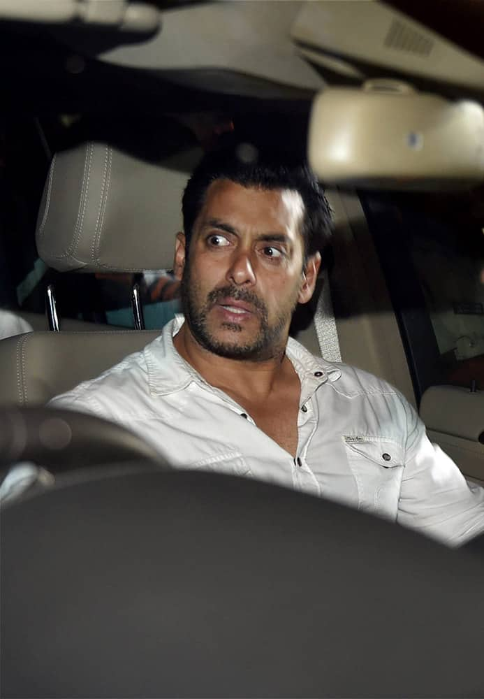 Salman Khan leaves the court after getting an interim 2 days bail by the High Court in the 2002 hit-and-run case in Mumbai. The court sentenced Khan to 5 years in prison for culpable homicide for the death of a man in the case.