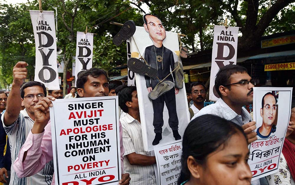 DYO activists protest against singer Abhijits alleged inhuman comments against poor people during a rally in Kolkata.