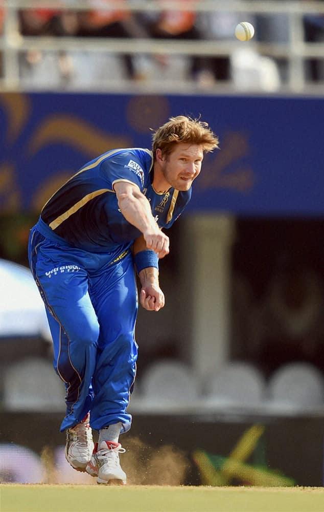 Rajasthan Royals player Shane Watson bowls during IPL match against SRH in Mumbai.