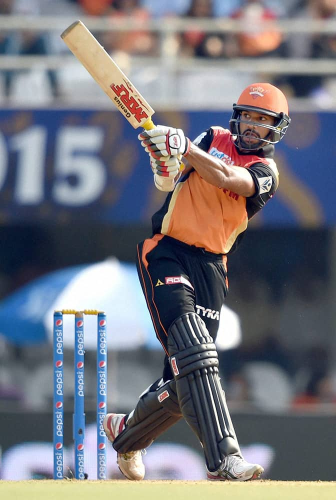 Sunrisers Hyderabad player Shikhar Dhawan plays a shot during their IPL match against Rajasthan Royals in Mumbai.