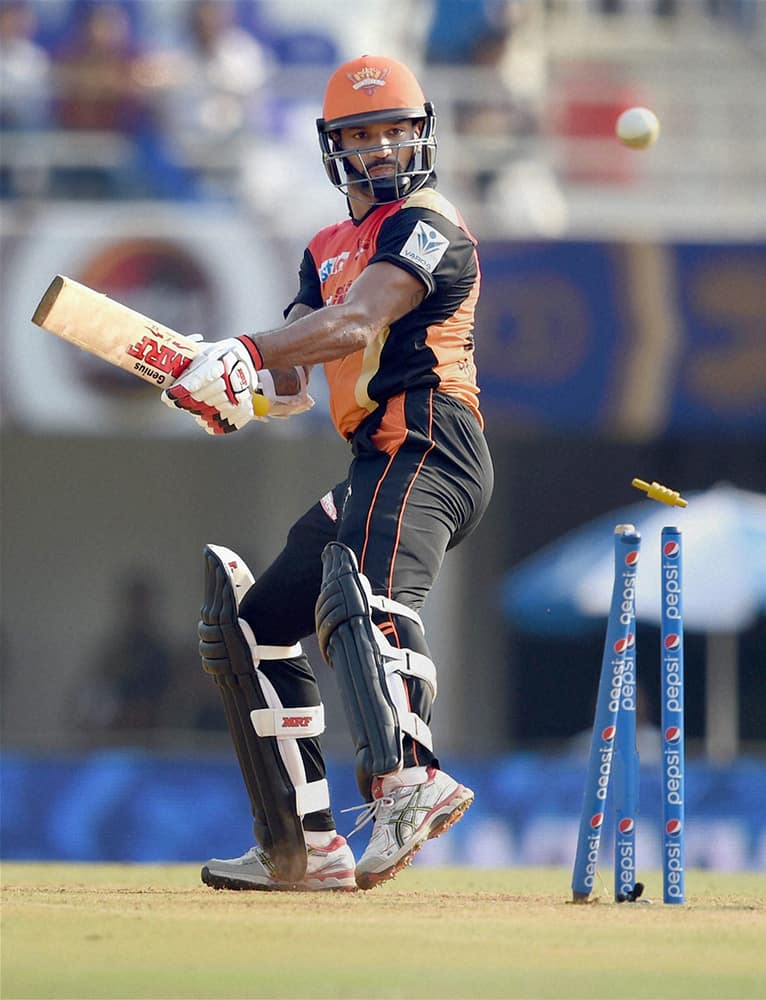 Sunrisers Hyderabad player Shikhar Dhawan is bowled out during their IPL match against Rajasthan Royals in Mumbai.