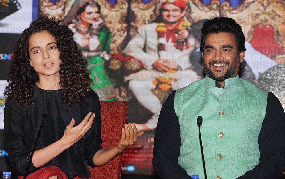 Kangana Ranaut and R Madhavan during the promotion of their upcoming movie Tanu weds Manu Returns in Kolkata.