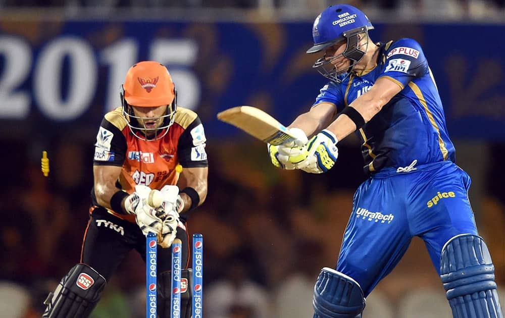 Rajasthan Royals player Steve Smith looses his wicket during an IPL match in Mumbai.