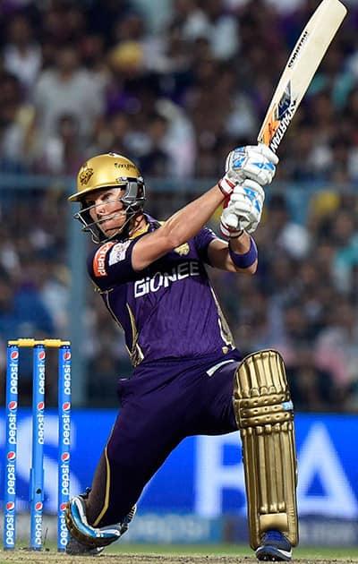 KKRs batsman J Botha plays a shot during the IPL match against Delhi Daredevils at Eden Garden in Kolkata.