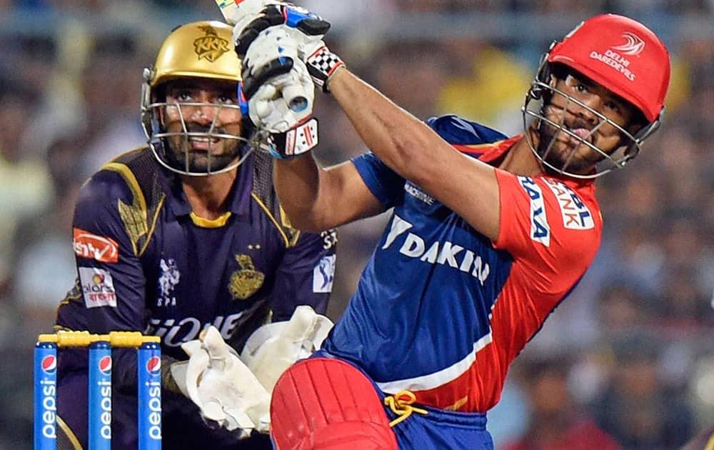 DD cricketer JP Duminy in action during IPL 2015 against KKR at Eden Garden in Kolkata.