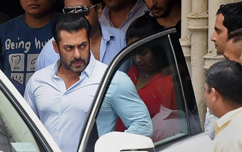 Bollywood actor Salman Khan leaves for the court from his residence in Mumbai.