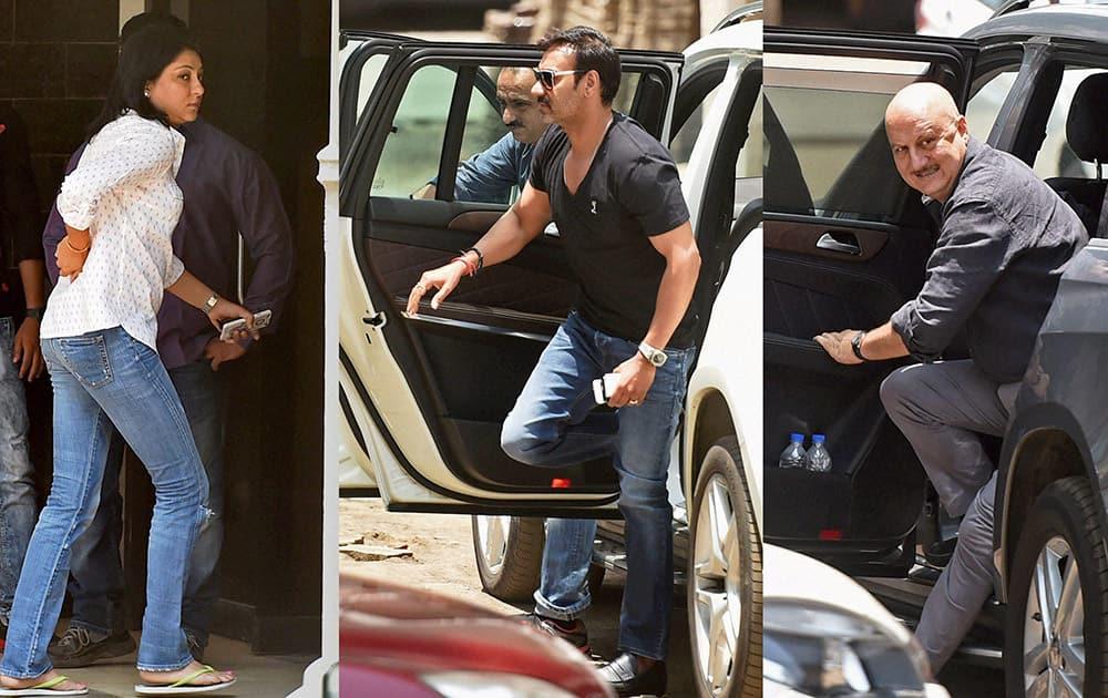 Sanjay Dutt's sister Priya Dutt, Ajay Devgn and Anupam Kher arrive at bollywood actor Salman Khans residence.
