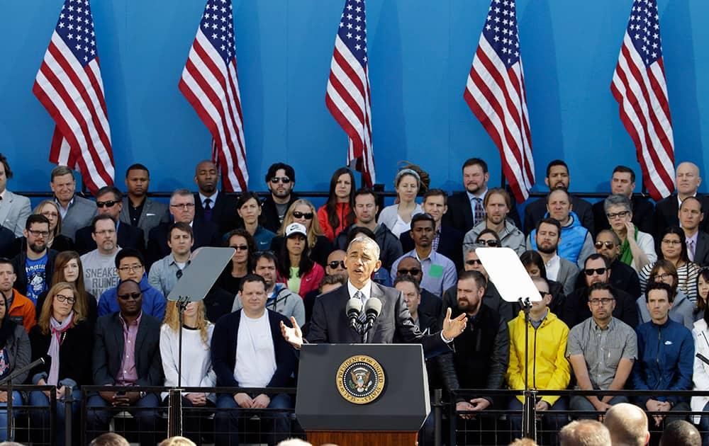 President Barack Obama speaks at Nike headquarters in Beaverton, Ore.
