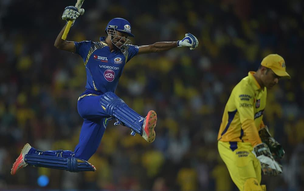 Mumbai Indian' Hardik Pandya celebrating after win over Chennai Super Kings during their IPL-2015 match at MAC Stadium in Chennai.