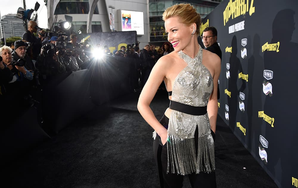 Director/producer Elizabeth Banks arrives at the world premiere of 'Pitch Perfect 2' at Nokia Theatre, in Los Angeles.