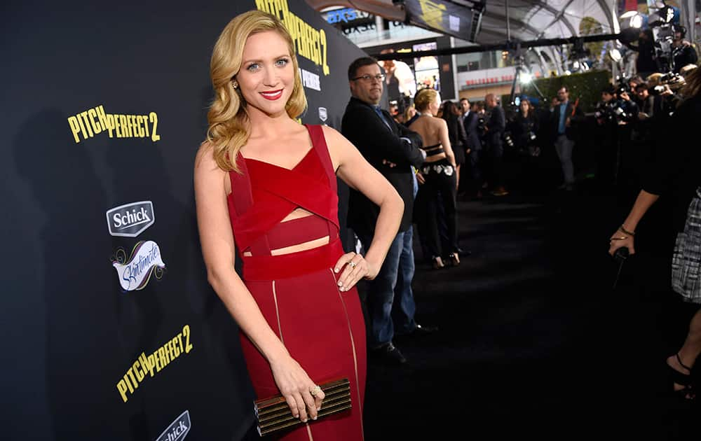 Brittany Snow arrives at the world premiere of 'Pitch Perfect 2' at Nokia Theatre, in Los Angeles.