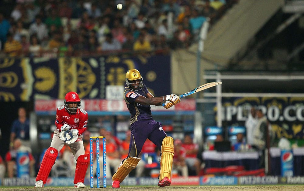 Andre Russell of the Kolkata Knight Riders in action during IPL match against Kings XI Punjab in Kolkata.