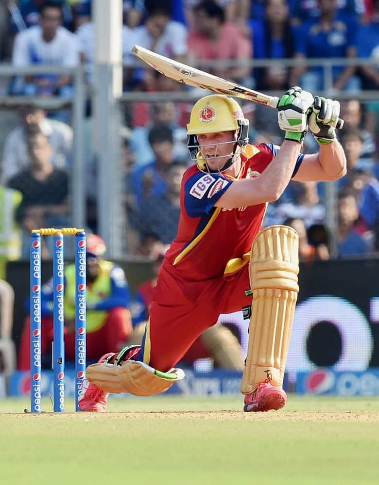 Royal Challengers Bangalore batsman De Villiers plays a shot against Mumbai Indians during an IPL T20 match in Mumbai.