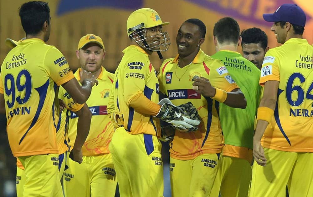 Chennai Super Kings' players celebrates after dismissing a Rajasthan Royal Shane Watson during their IPL-2015 at MAC Stadium in Chennai.