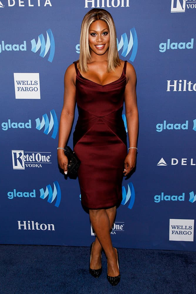 Laverne Cox attends the 26th Annual GLAAD Media Awards at the Waldorf Astoria in New York.