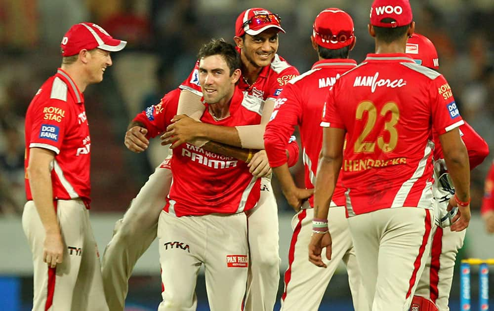 Glen Maxwell of the Kings XI Punjab celebrates wicket of shikhar Dhawan during an IPL 8 match in Hyderabad.