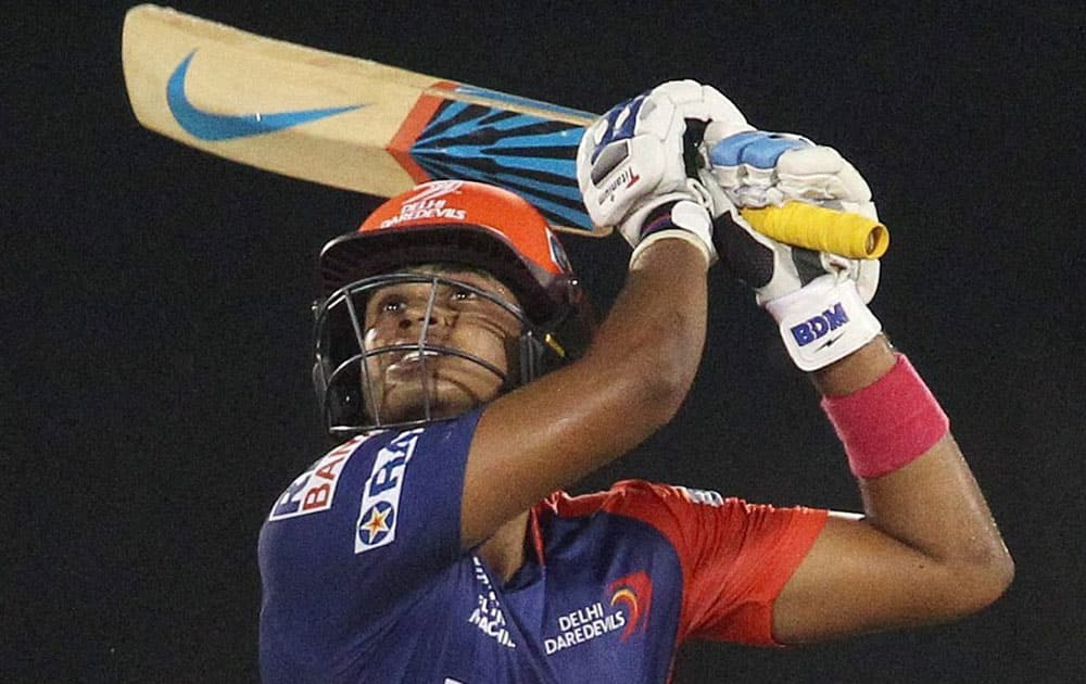Shreyas Iyer of the Delhi Daredevils plays a shot during an IPL 8 match against Chennai Super Kings in Raipur.