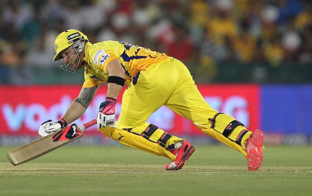 Brendon McCullum of Chennai Superkings falls down during their IPL match against the Delhi Daredevils in Raipur.