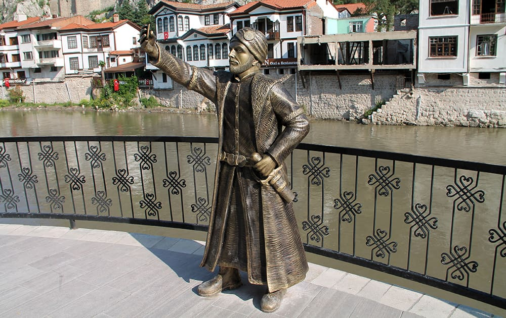 This photo shows a statue of an Ottoman prince taking a selfie with a cellphone erected in Amasya, Turkey.