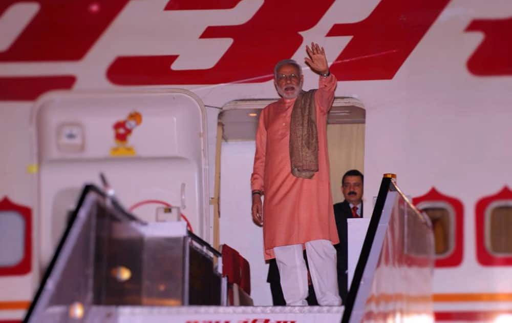 PM Shri @narendramodi departing from New Delhi for his three Nation visit to China, Mongolia and South Korea. -twitter