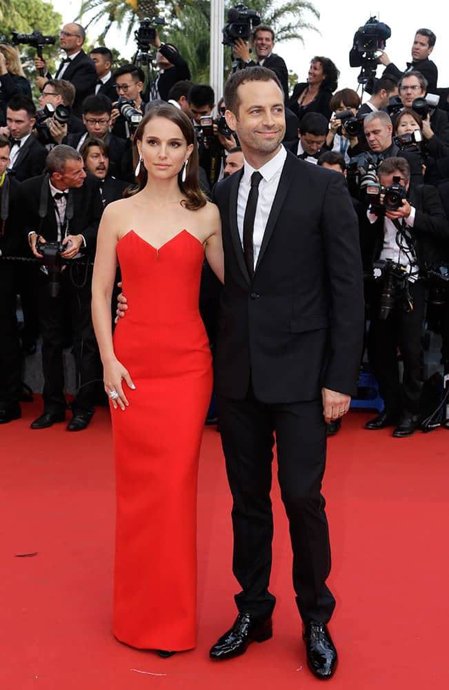 Actress Natalie Portman and her husband choreographer Benjamin Millepied arrive for the opening ceremony and the screening of the film La Tete Haute (Standing Tall) at the 68th international film festival, Cannes.