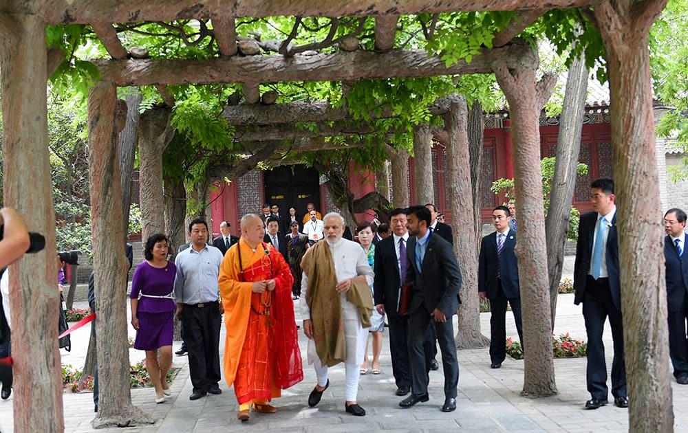 Prime Minister Narendra Modi during his visit Daxingshan temple in Xian, China.