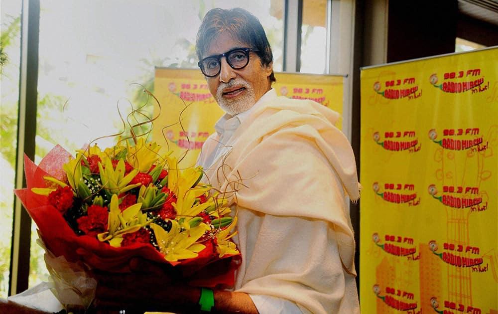 Mega actor Amitabh Bachchan at a radio studio.