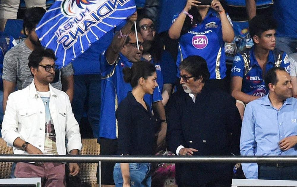 Bollywood actor Amitabh Bachchan with Deepika Padukone and Irfan Khan during the Kolkata Knight Riders and Mumbai Indians IPL T20 match played in Mumbai.