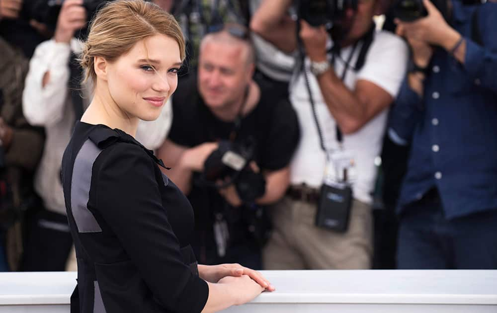 Actress Lea Seydoux poses for photographers during a photo call for the film The Lobster, at the 68th international film festival, Cannes, southern France.