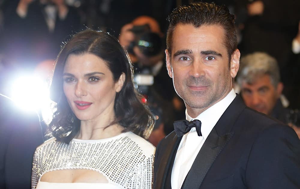 Rachel Weisz and Colin Farrell pose for photographers upon arrival for the screening of the film The Lobster at the 68th international film festival, Cannes, southern France.