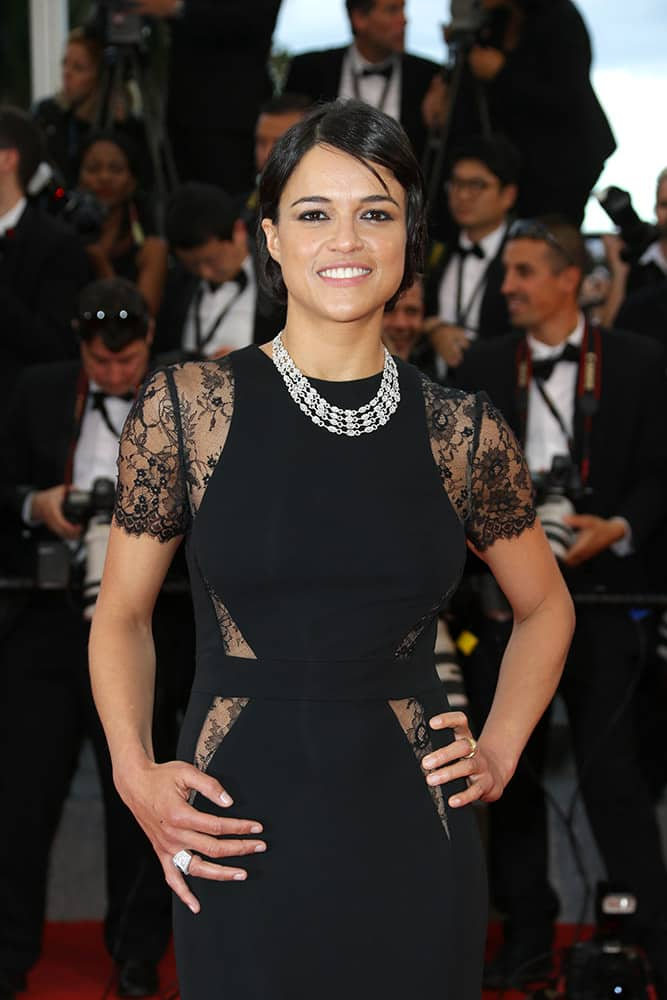 Michelle Rodriguez poses for photographers upon arrival for the screening of the film Irrational Man at the 68th international film festival, Cannes, southern France.