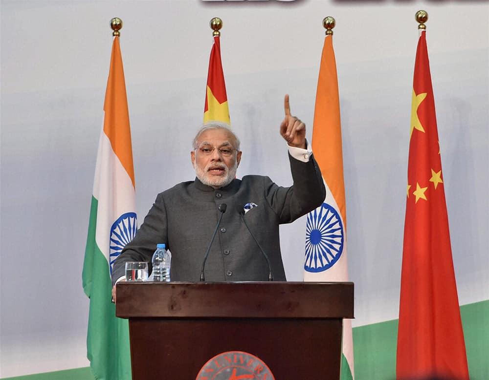 Prime Minister Narendra Modi addresses during opening ceremony of Centre for Gandhian & Indian Studies at Fudan University in Shanghai.