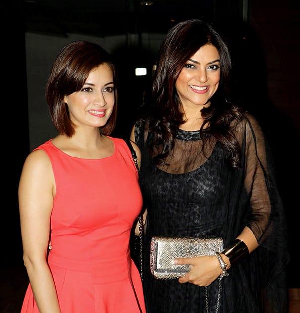 Bollywood actors Dia Mirza and Sushmita Sen during the screening of Bengali film Nirbaak in Mumbai.