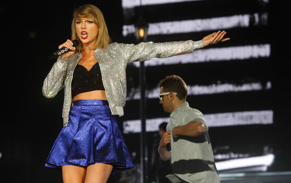 Taylor Swift performs at Rock in Rio USA at the MGM Resorts Festival Grounds, in Las Vegas.