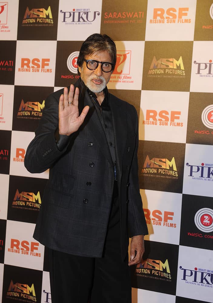 Amitabh Bachchan at the party held to celebrate the success of 'Piku' at Sofitel, Bandra in Mumbai. dna
