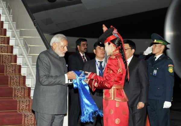 PM arrives at Chinggis Khan International Airport, Ulaanbaatar, Mongolia Twitter@PIB_India
