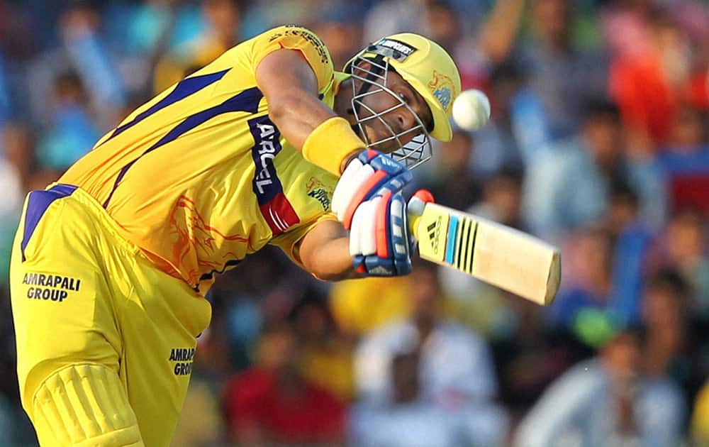 Suresh Raina of Chennai Super Kings bats during the IPL match against Kings XI Punjab in Mohali.