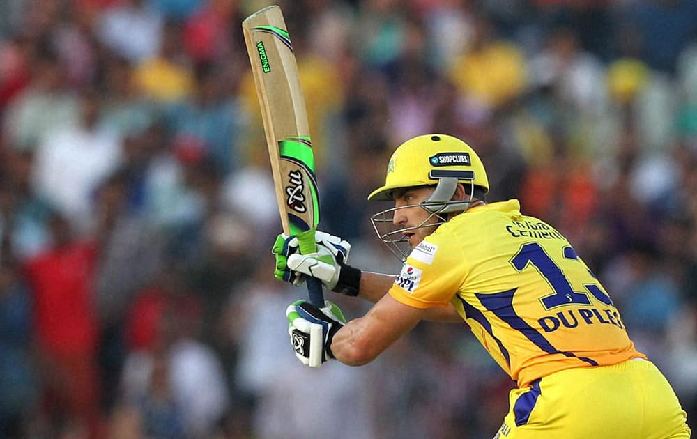 Faf du Plessis of Chennai Super Kings bats during the IPL match against Kings XI Punjab in Mohali.