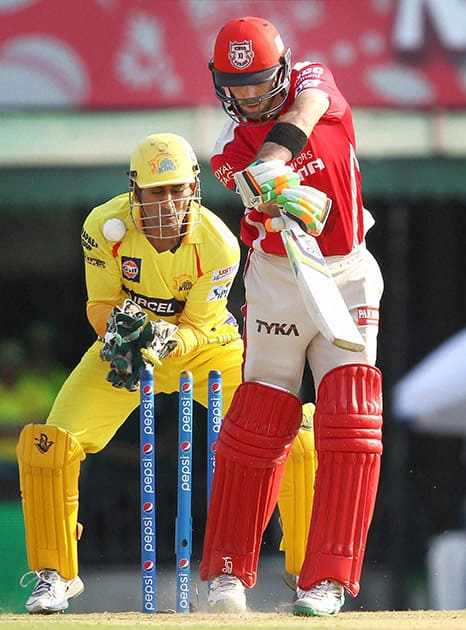 Glenn Maxwell of Kings XI Punjab is bowled by Ravindra Jadeja of Chennai Super Kings during the IPL match in Mohali.