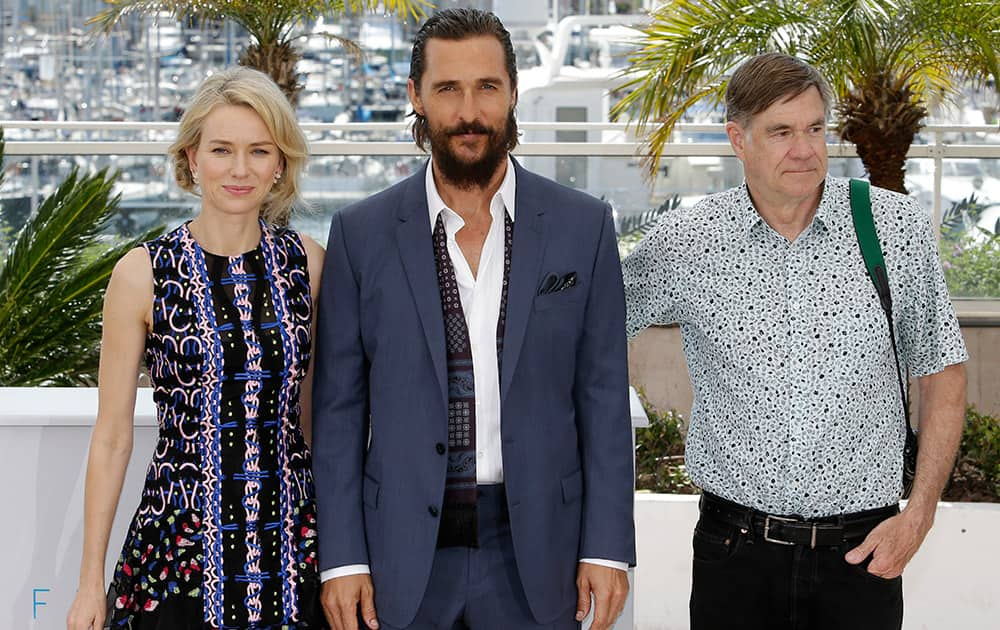 Actors Naomi Watts, Matthew McConaughey and director Gus Van Sant pose for photographers during a photo call for the film The Sea of Trees, at the 68th international film festival, Cannes, southern France.