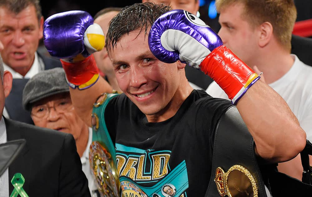 Gennady Golovkin, of Kazakhstan, poses after defeating Willie Monroe Jr. in a middleweight boxingbout, in Inglewood, Calif.