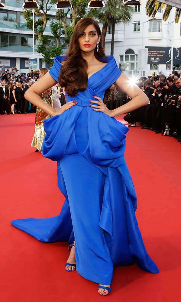 Actress Sonam Kapoor poses for photographers upon arrival for the screening of the film The Sea of Trees at the 68th international film festival, Cannes