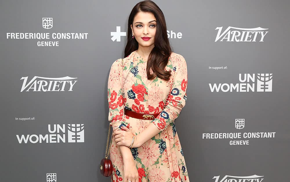 Aishwarya Rai Bachchan poses for photographers on arrival at the Variety and UN Women Panel discussion, during the 68th international film festival, Cannes.