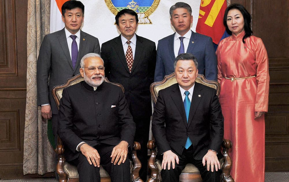 Prime Minster Narendra Modi with Speaker of the Parliament of Mongolia, Z.Enkhbold during a meeting in Ulan Bator, Mongolia.