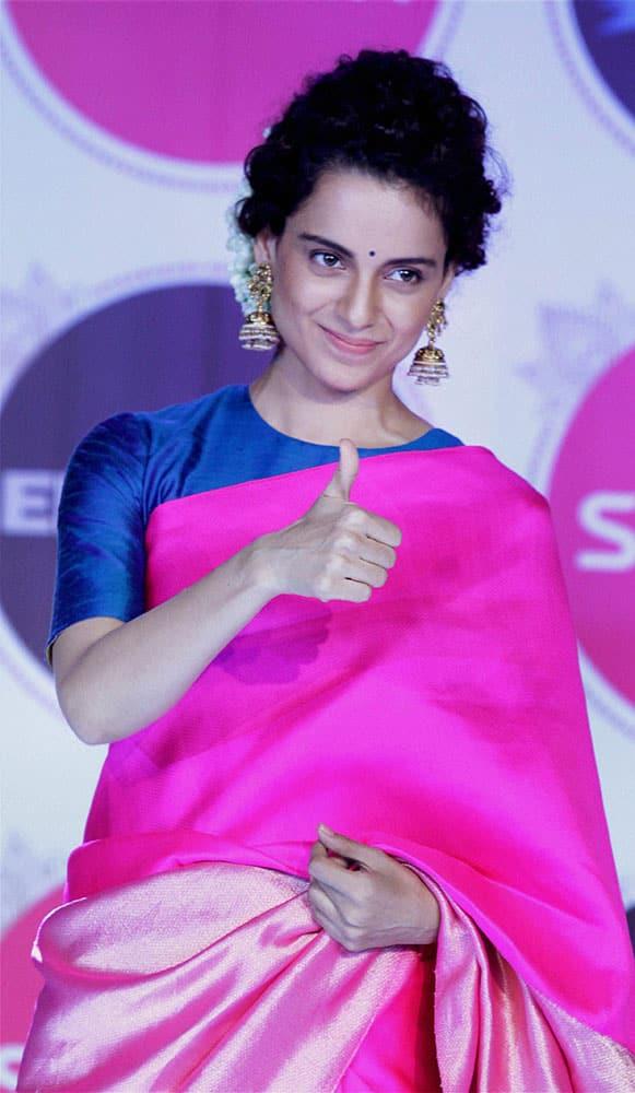 Bollywood actor Kangana Ranaut during the promotion of their upcoming movie Tanu weds Manu Returns in Mumbai.