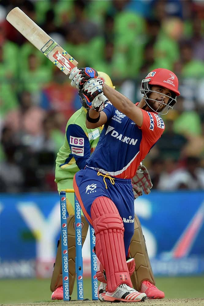 Delhi Daredevils J P Duminy plays a shot during IPL8 match against Royal Challengers Bangalore in Bengaluru.