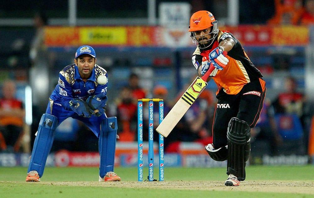 Sunrisers Hyderabad batsman KL Rahul plays a shot during the IPL match against Mumbai Indians in Hyderabad.