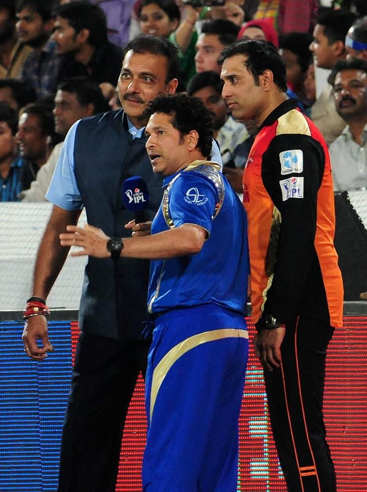 Mentors Sachin Tendulkar (MI), VV Laxman (SH) with former cricketer Ravi Shastri during the IPL match between Sunrisers Hyderabad and Mumbai Indians.